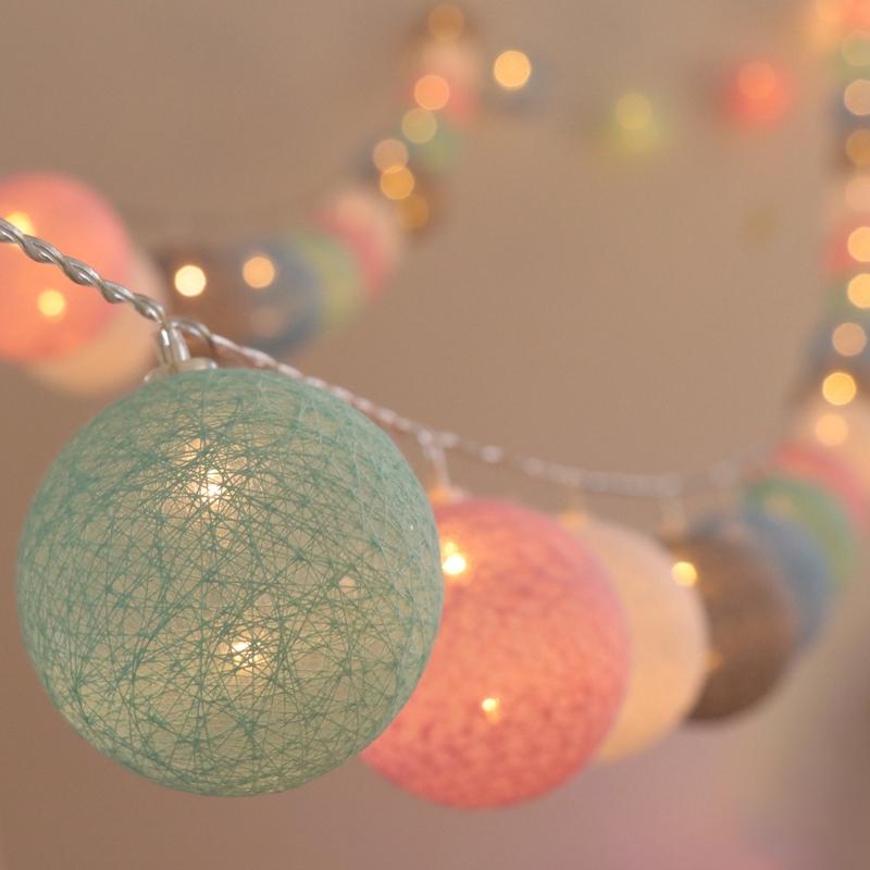 20 Led Cotton Ball Globe String Fairy Lights Bedroom Wedding Shopee Philippines