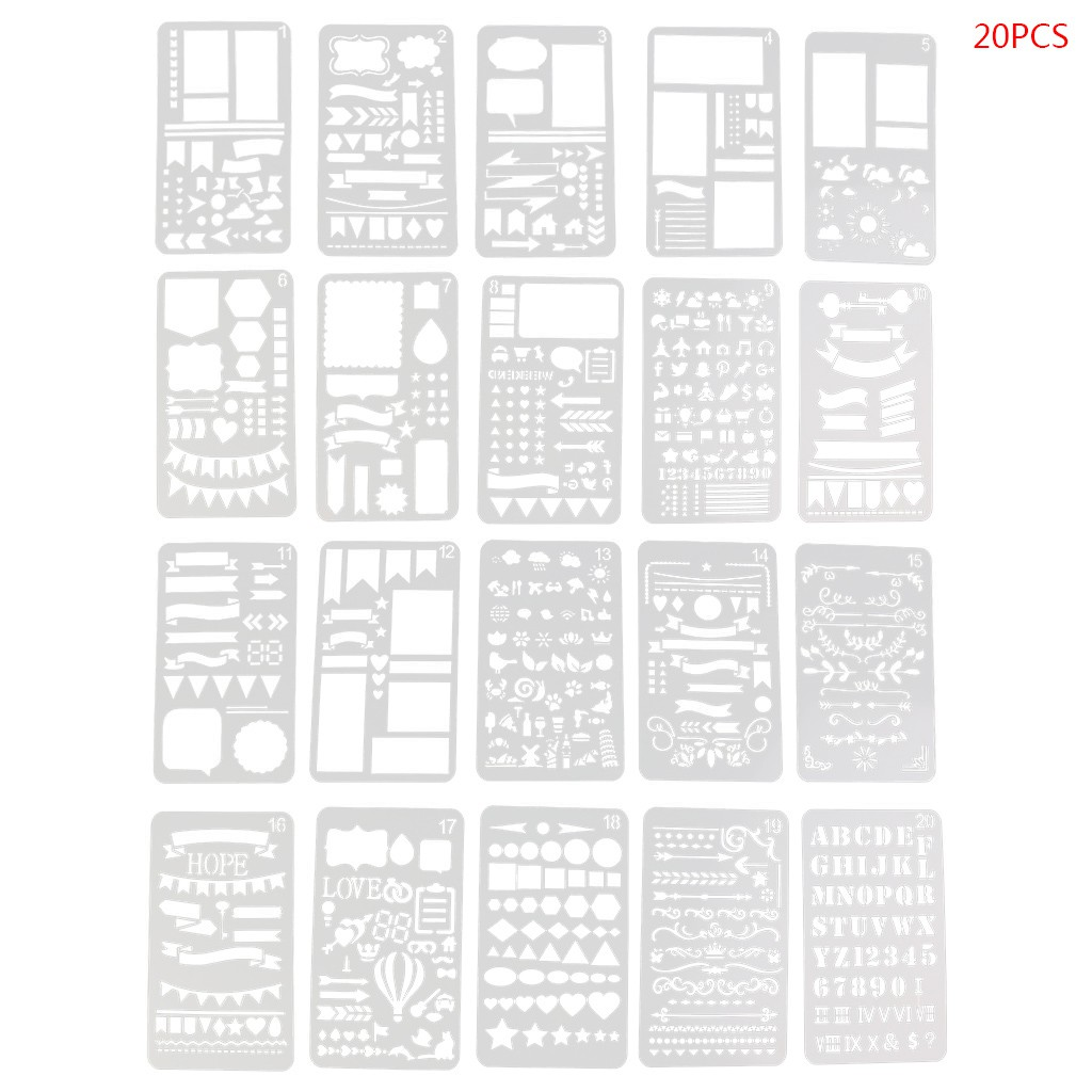 12pcs Plastic Journal Stencil Drawing Template Ruler for DIY Planner Diary