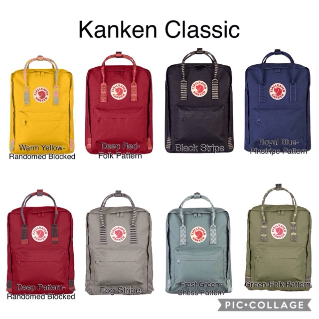Original Fjallraven Kanken Classic Backpack -Pattern straps
