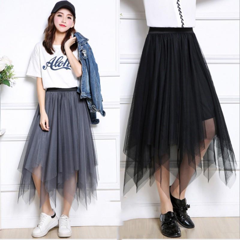 fe7ab11b1fb151 ProductImage. ProductImage. Summer Women's Retro Irregular Mesh Yarn Layered  Midi Skirt