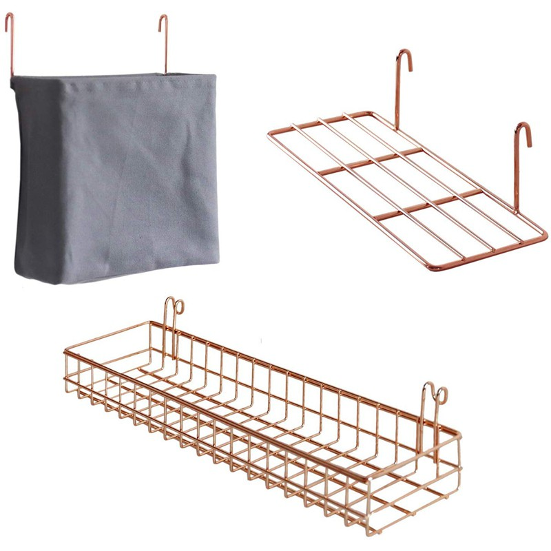 3 Pcs Rack Grid Panel Basket Hanging Bag Display With