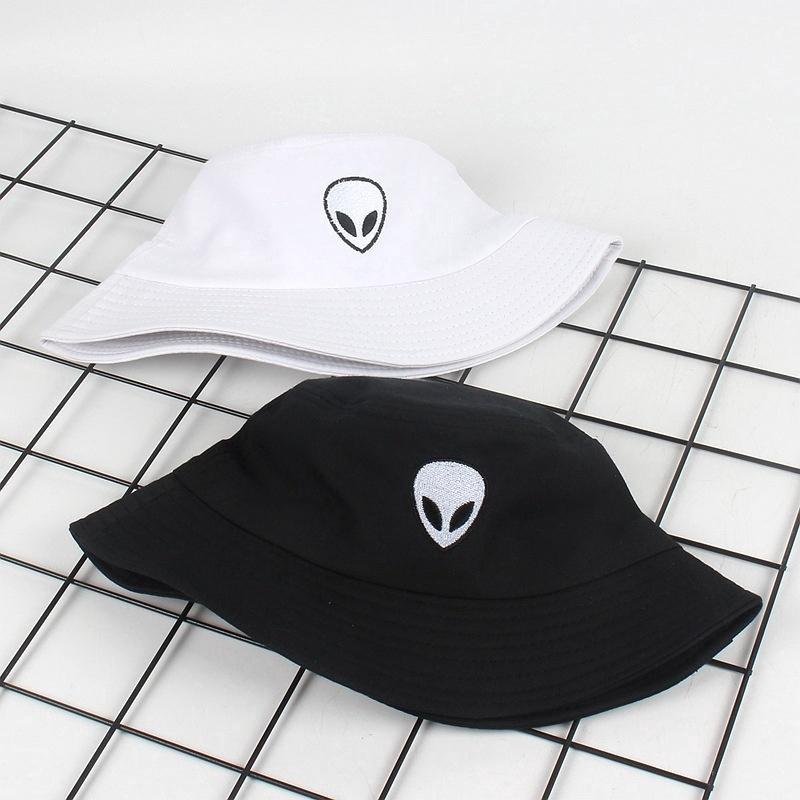 ab789edc0 Women Men Outdoor Caps Alien Embroidery Bucket Hats Caps