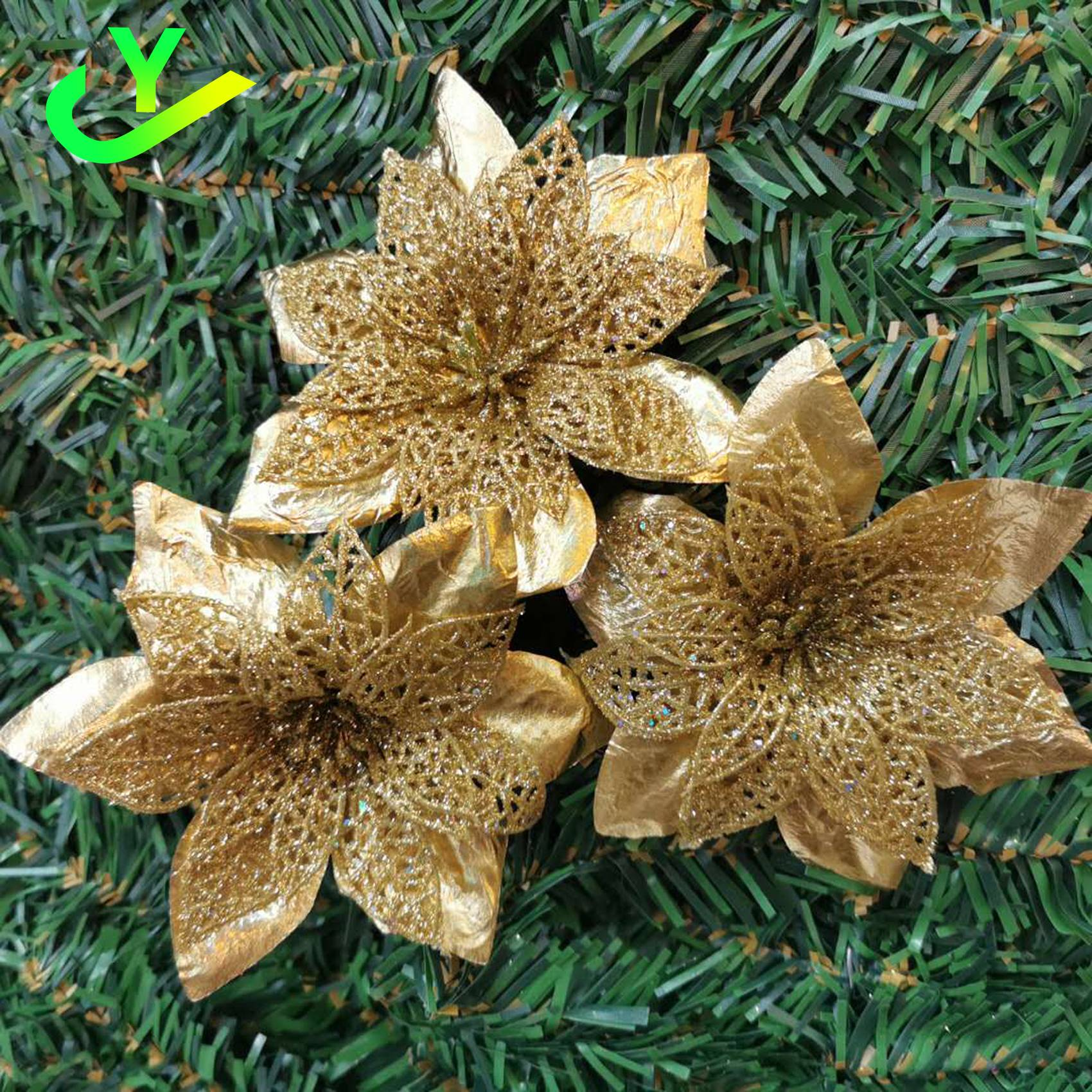Yj 12pcs Christmas Tree Decor Flower Red Gold Silver Blue Green Purple Color Shopee Philippines