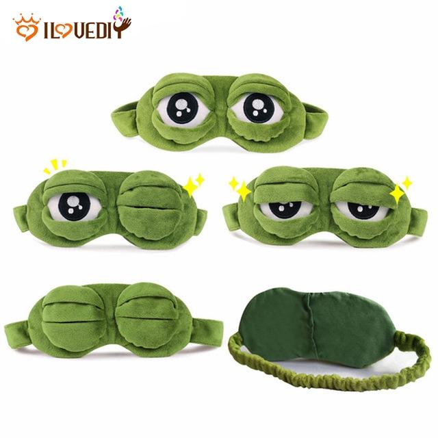 3D Cartoon Frog Sad Sleep Mask Cute Eye Cover Funny Rest Blindfold Sleeping HO3