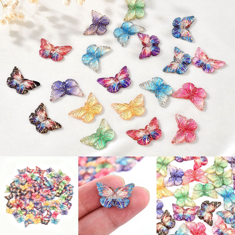 50pc 13x11mm Exquisite Butterfly Charms Jewelry Findings Necklace Pendant Making