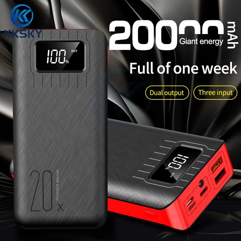 KKSKY Powerbank 20000mAh Fast Charge Power Bank Type-C/Micro In Dual USB Out Portable Charger