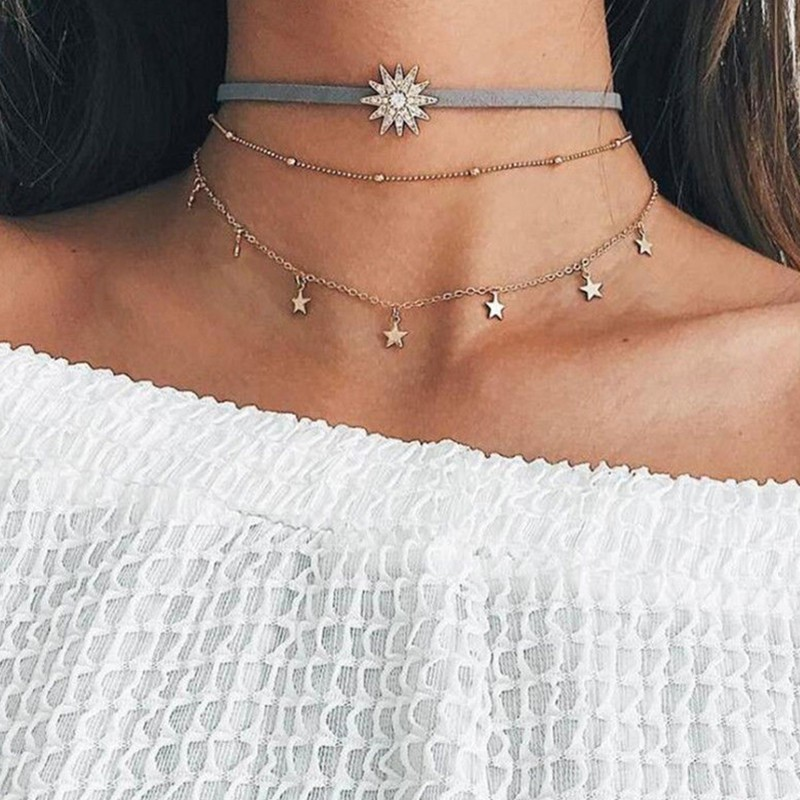 Women Boho Elephant Moon Flowers Pendant Necklace Choker Multi-layer Jewelry