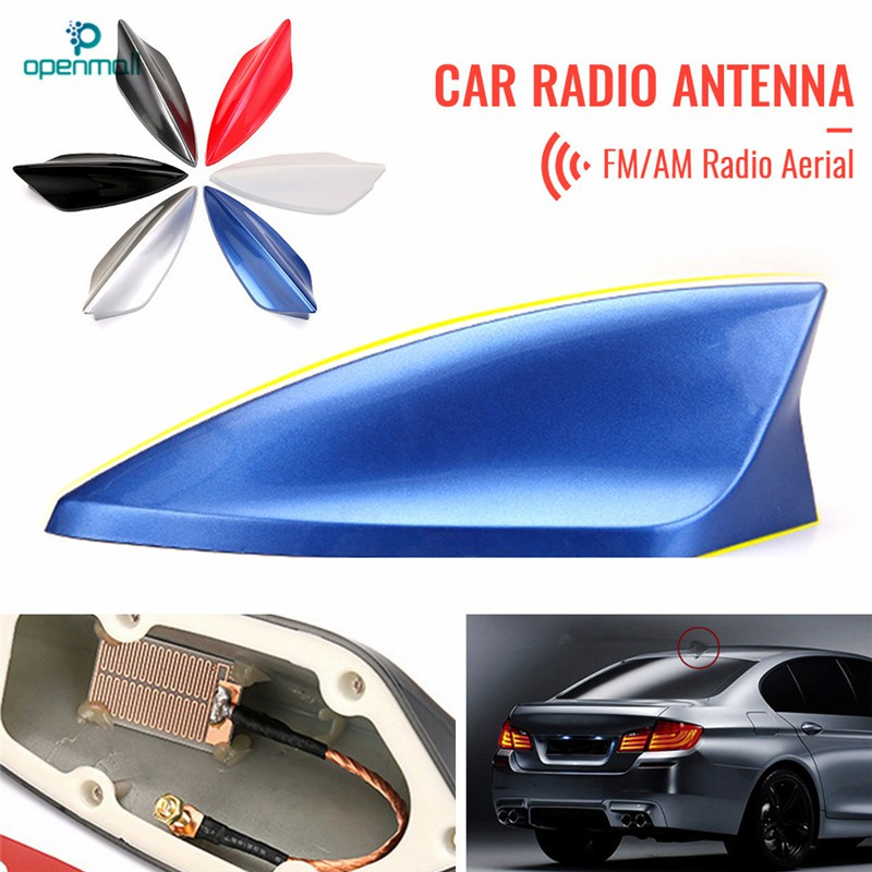 Blue Car Top Roof Shark Fin Antenna Aerial Signal AM Radio Universal Replacement