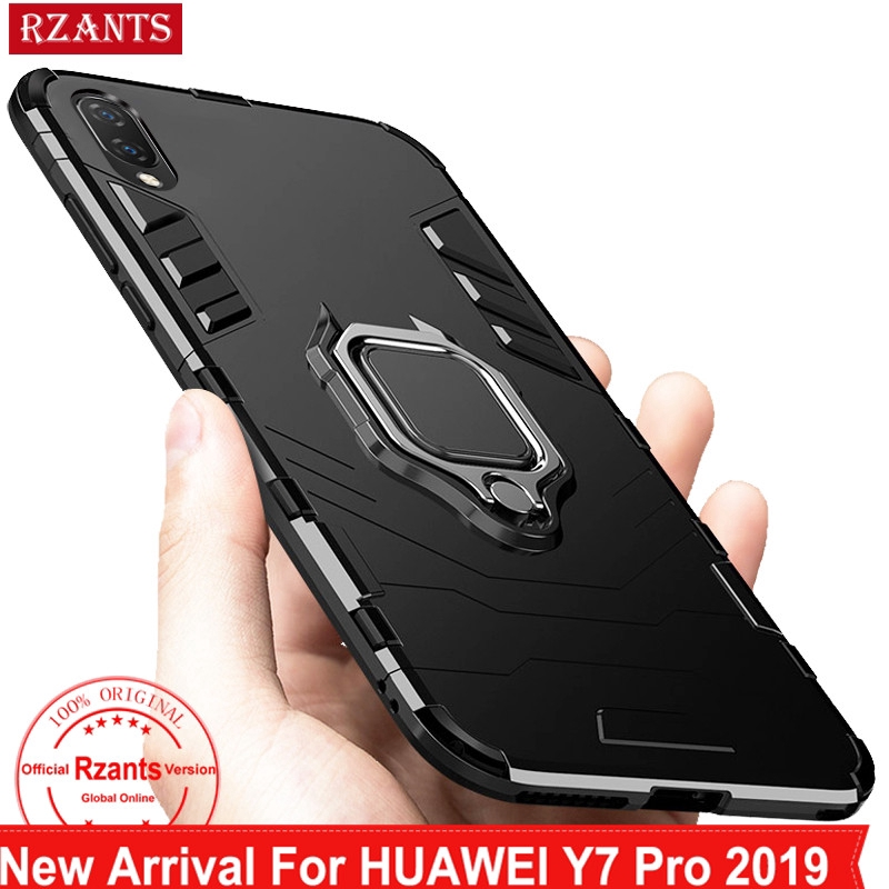 outlet store 1aa80 859e5 Huawei Y7 Pro 2019 Hard Back【Metal Ring】Kickstand Slim Cover