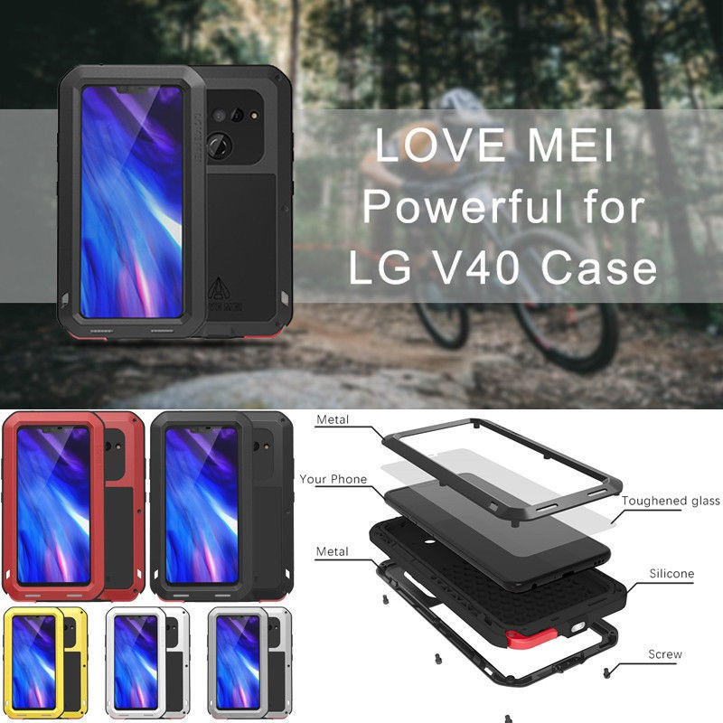 LOVEMEI Aluminum Metal Gorilla Glass Heavy Duty Waterproof Case For LG V40  ThinQ