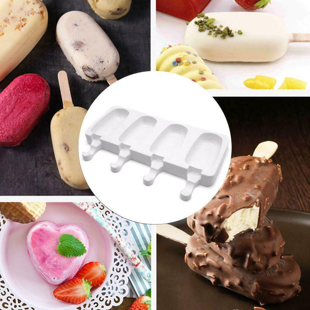 4 Cell Silicone Frozen Ice Cream Mold Juice Popsicle Maker Ice Lolly Pop