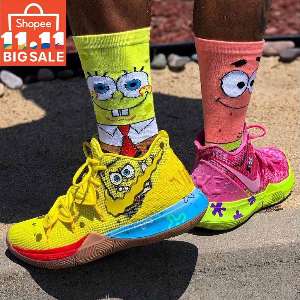 2020 2 color matching Nike Kyrie 5 Irving x Spongebob shoes left yellow  right pink basketball shoe