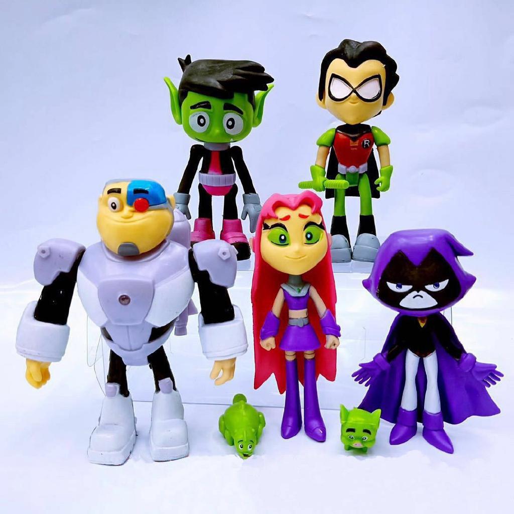 5pcs//lot Teen Titans Raven Silkie Cyborg Starfire PVC Action Figures Kids Toys