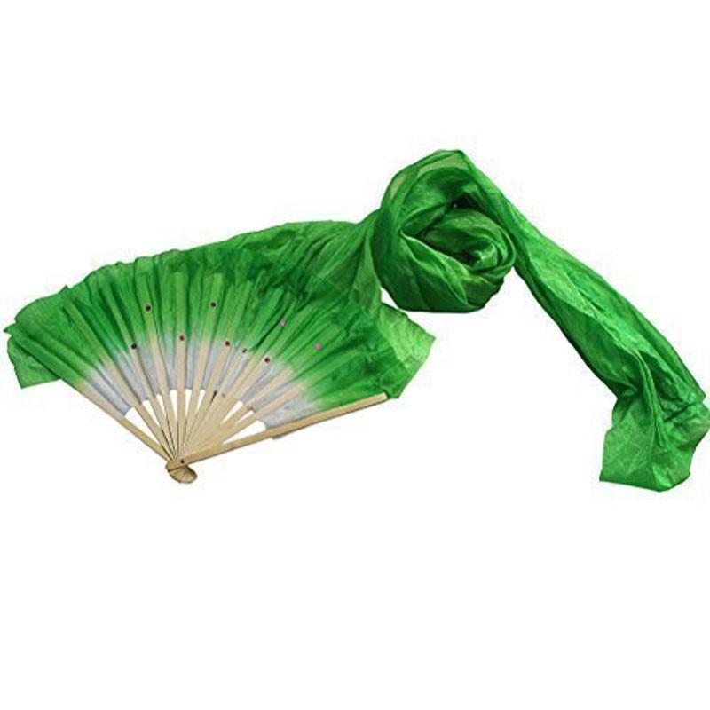 Hand Made Colorful Belly Dancing Silk Bamboo Long Fans Veils Dance Fan 1.8m UK