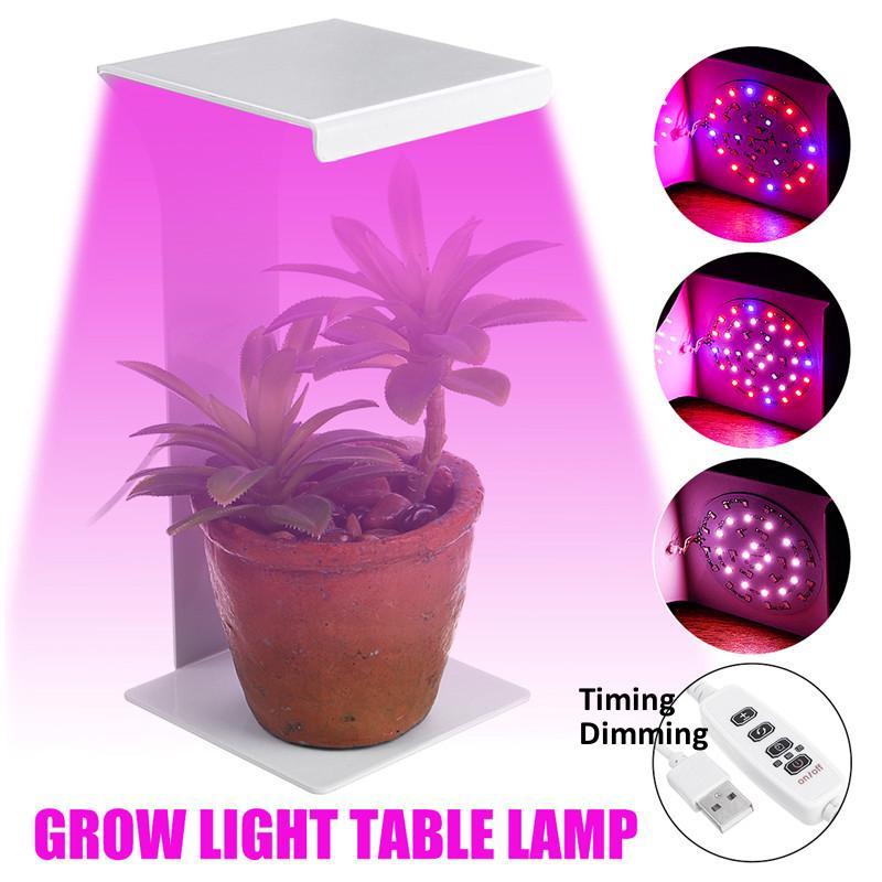 50w Full Spectrum Led Plant Grow Lights Table Desk Lamp Indoor Plants Timer