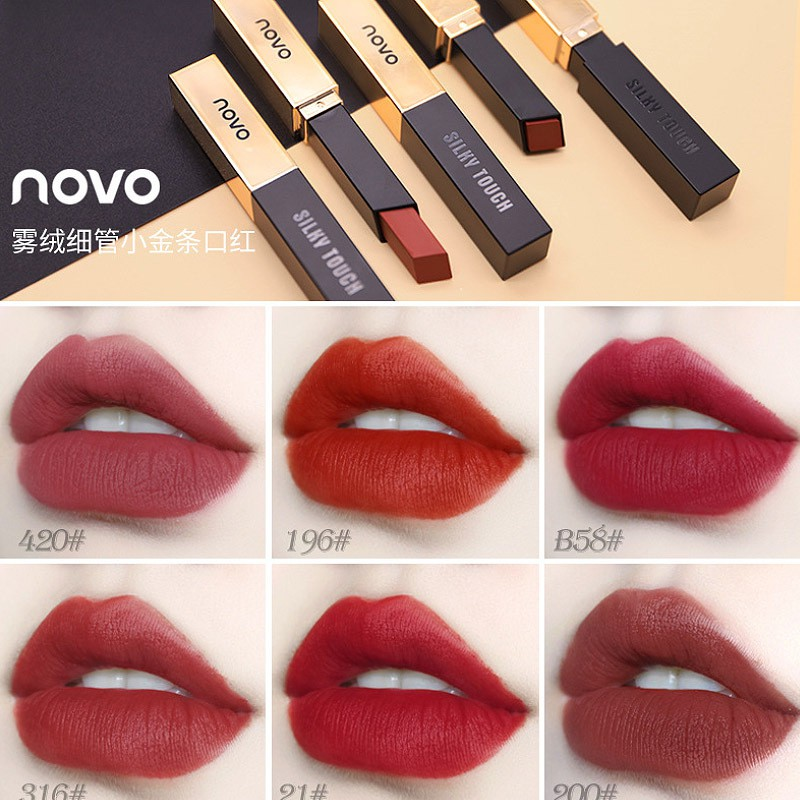 Novo Velvet Matte Lipstick Red Bean Paste Color Red Square Small Gold Bar Lipstick