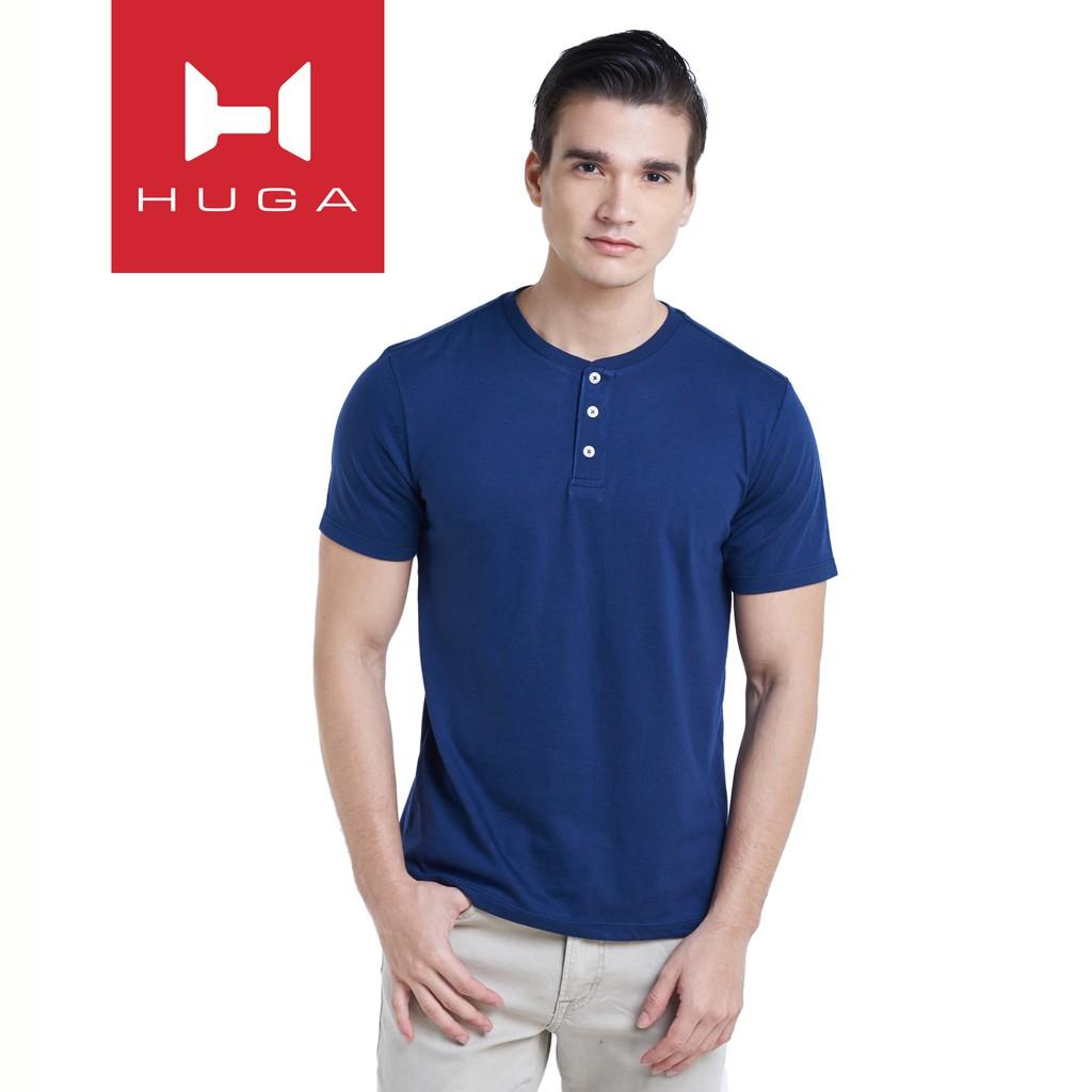 Huga Mens Ultra Soft Cotton Camisa Henley TShirts T-Shirts Tee Top Shirts for Men (Navy Blue)