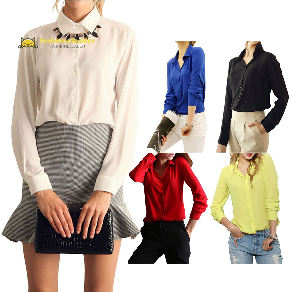 Women Soft Direct Solid Button Long-Sleeved Shirt