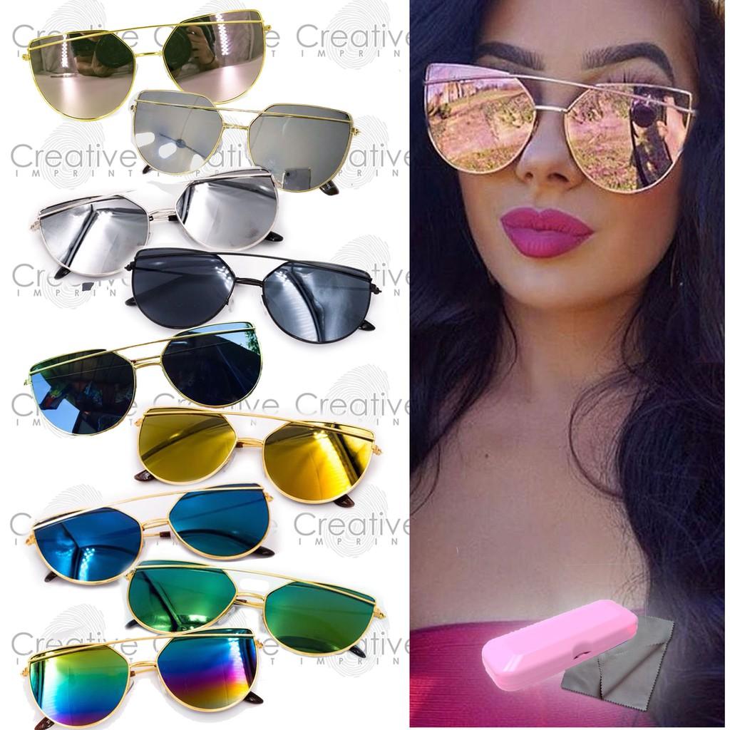 60ab7e23d7c Double Bridge Cat Eye Flat Lens Sunglasses Shades FREE CASE