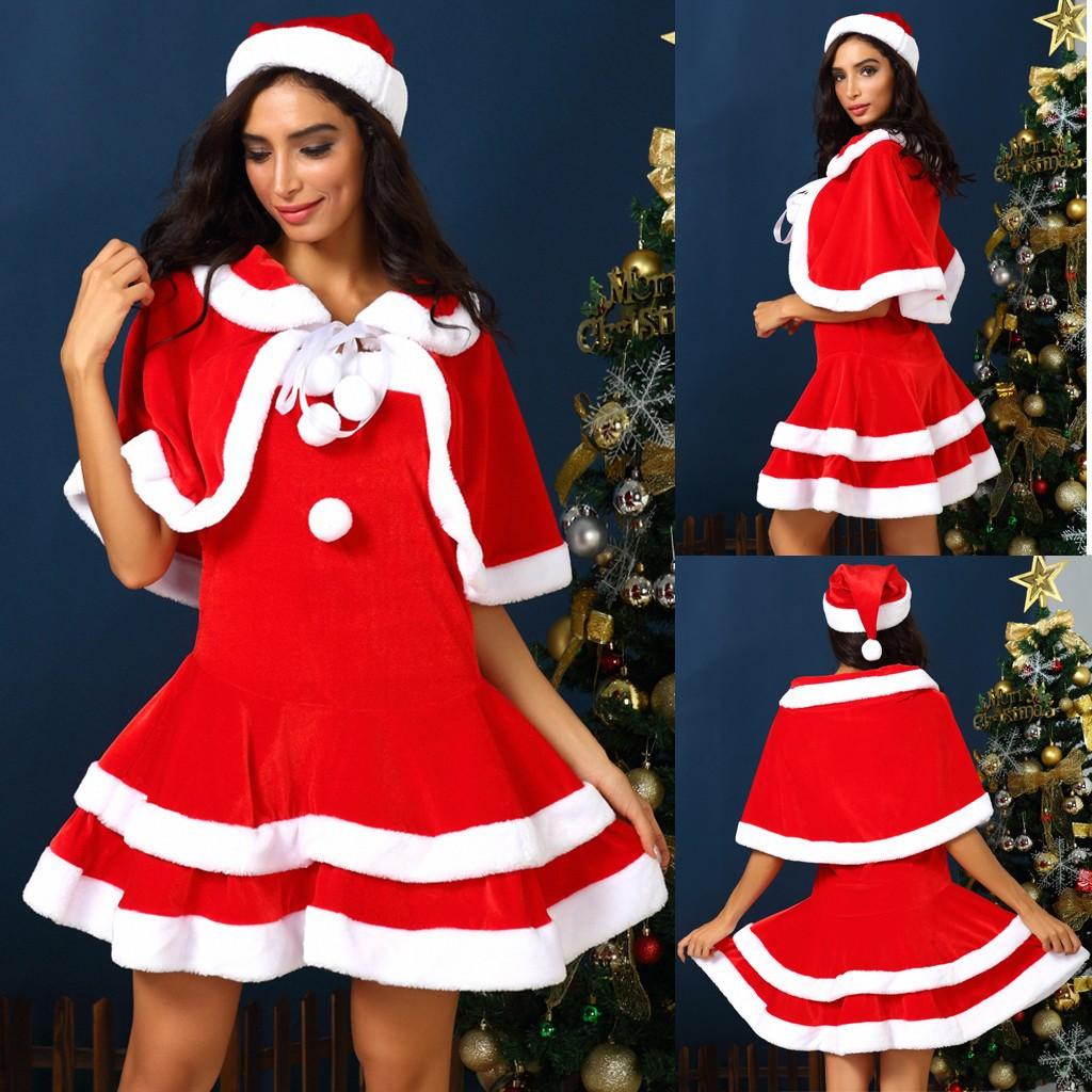 ☇fräulein santa claus outfits frauen weihnachten kleider erwachsene kostüm  halbe hülse modis dame