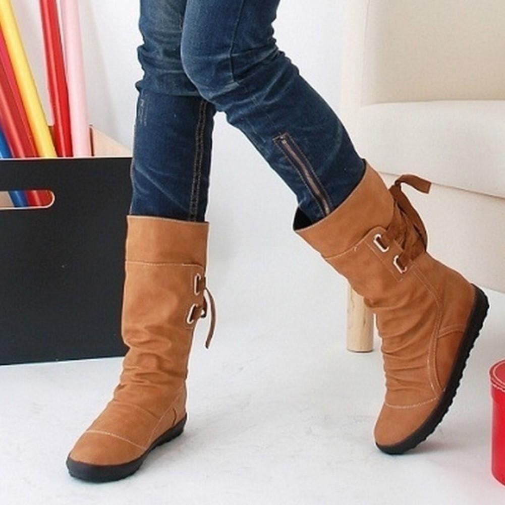 57e597a0e24 DG Fashion Women Autumn Winter Faux Leather Mid-Calf Lace Up Decor Flat  Heels Boots