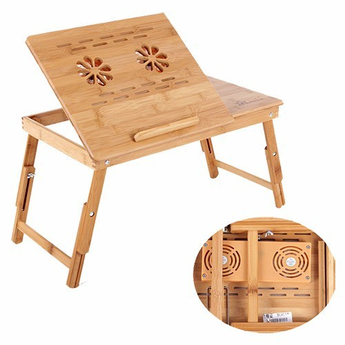 Portable Bamboo Laptop Desk Table Stand With Fan ...