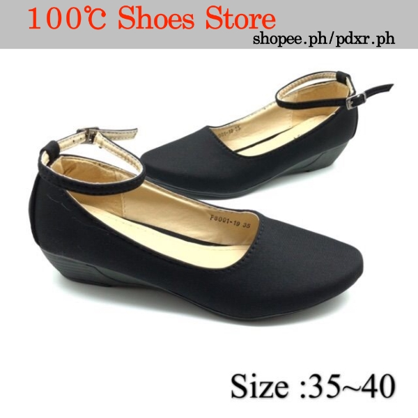 F8001-19 Black School Shoes/Office Shoes/Wedge For Ladies