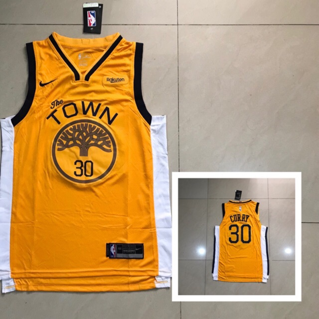 new concept 4d423 cc64d Stephen curry warriors the town yellow nike jersey 💯% OEM