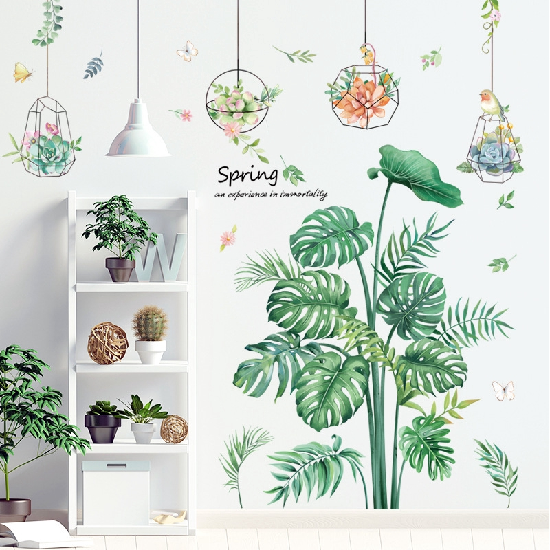Nordic Style Wall Stickers Green Plant Wallpaper Potted Decorative Painting Bedroom Background Self Adhesive Wallpaper Stickers Shopee Philippines