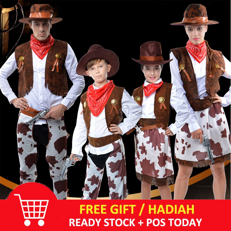 eaa6abbc3a4e0 Adult Cowboy Costume Men Women Cowgirl Cosplay Western Suit