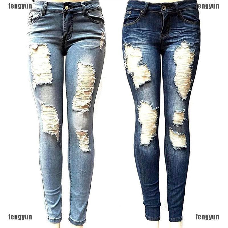 Women Ripped High Waisted Skinny Fit Jeans Ladies Stretchy Denim Pants Leggings