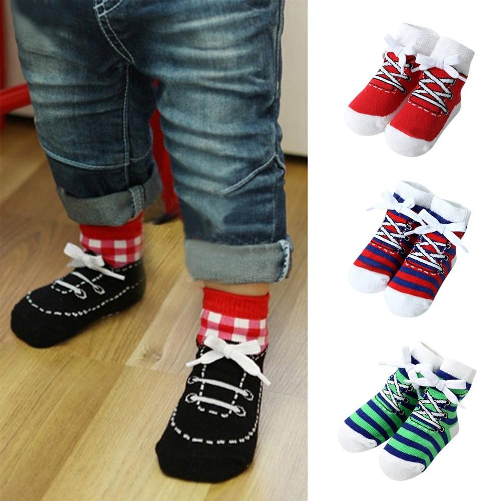 1 Pairs Infant Baby Girls Boys Stripe Comfortable Socks Anti-Slip Slipper Socks