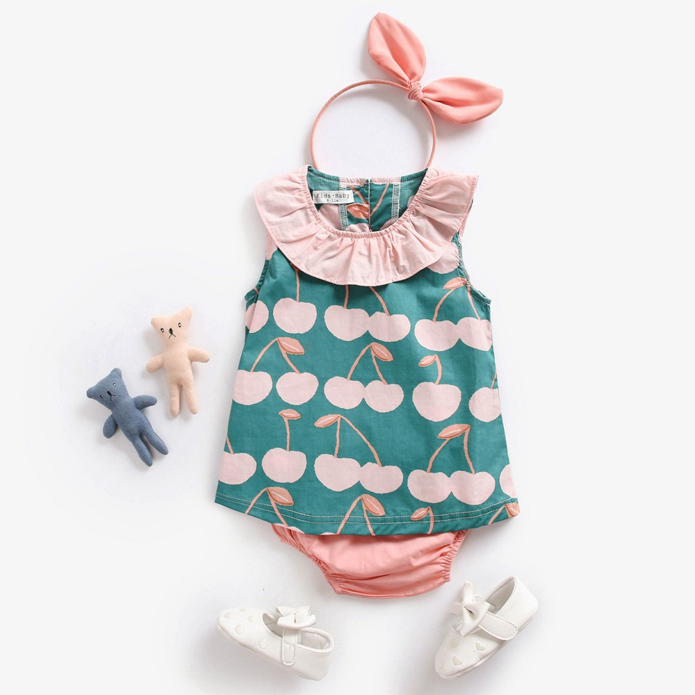 Baby Girl Clothes Cartoon Girl Print with Bow Plaid Shorts Outfit Sets