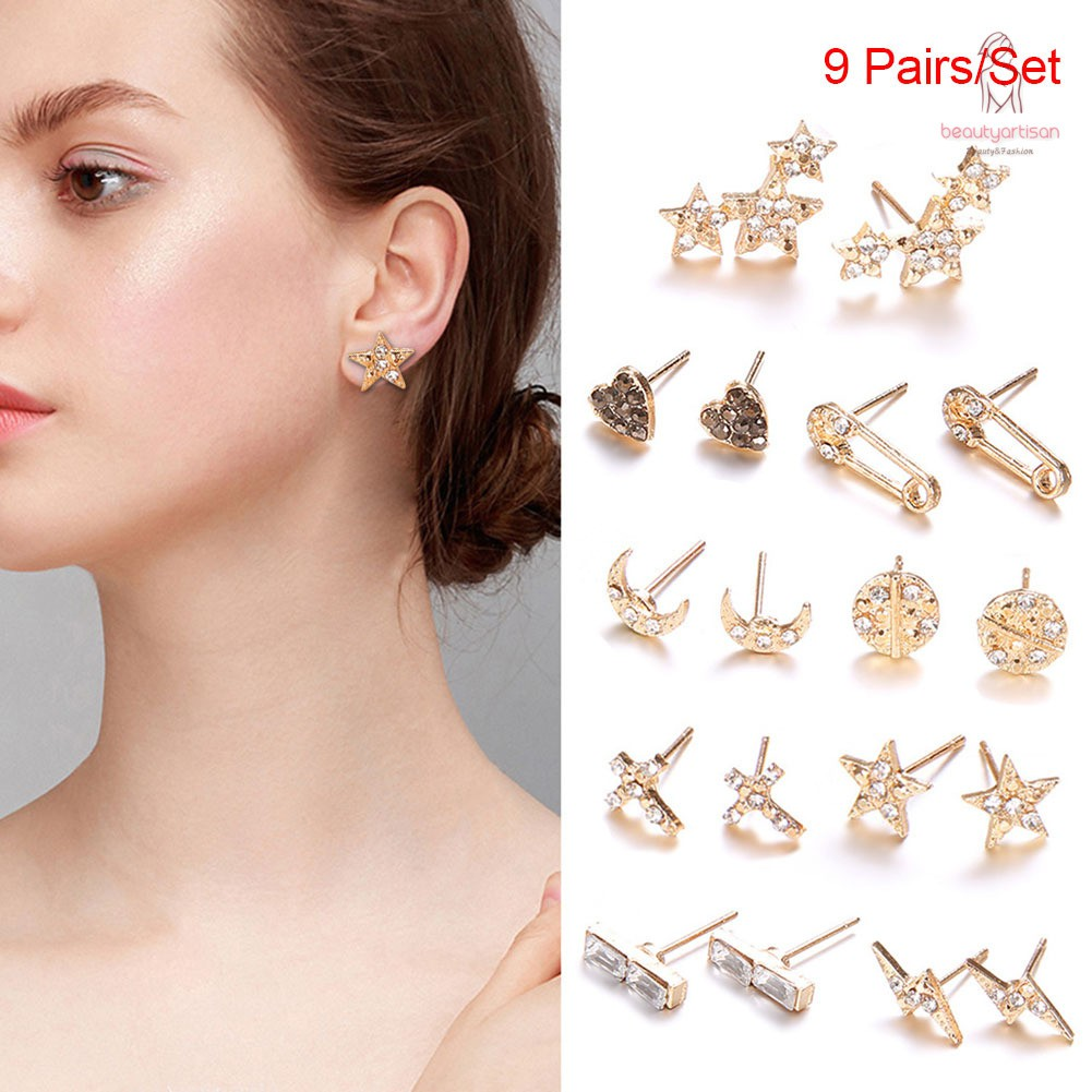 womens earring set 9 pair gold sliver punk stud earrings square triangle round