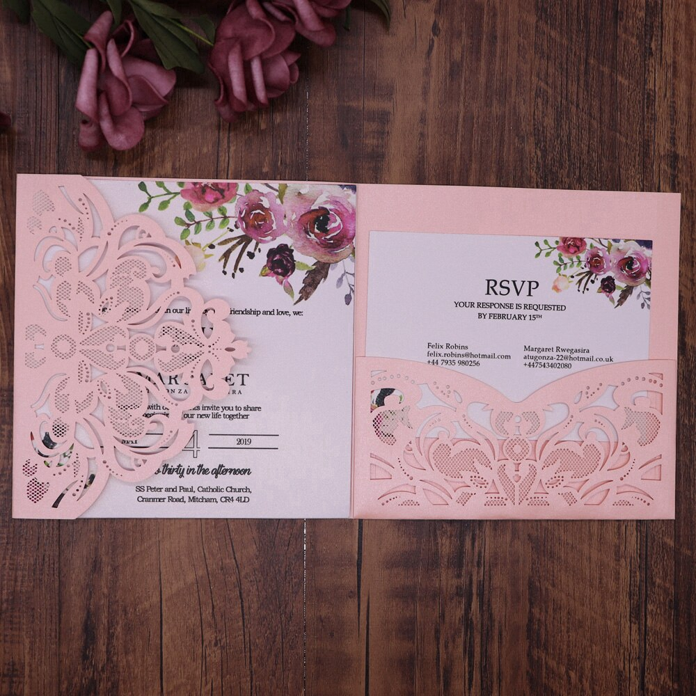 10pcs Pack Lace Laser Cut Wedding Invitation Card Cover Square Glitter Paper Party Event Supplies
