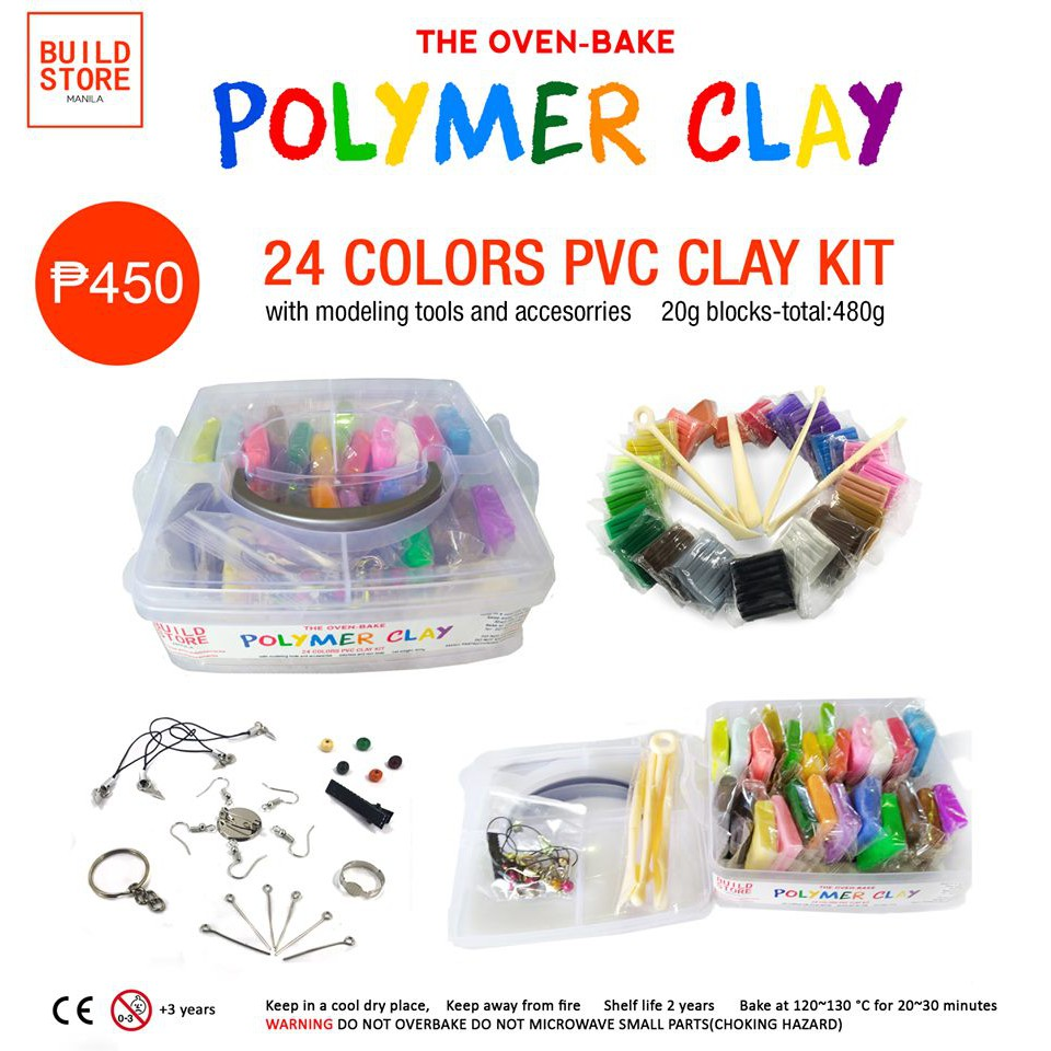 Polymer Clay Kit- 24 Colors Set (480g) w/ Tools