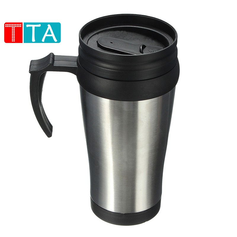 Thermal Insulated Stainless Steel Travel Mug Flask Cup Removable Lid Car Holder