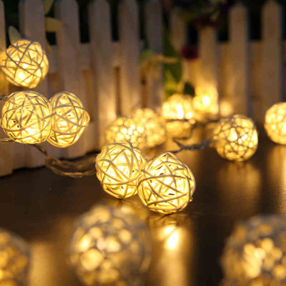 buy popular 8dff1 79212 5M 20led Rattan Ball Wicker String Lights Fairy Lamp