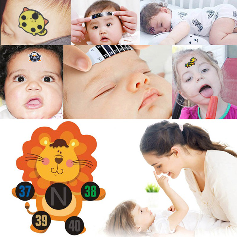 Thermometer Sticker 6 PCS Children Bendable Skin Friendly Forehead Baby Care Cartoon Animal Flexible Body Fever Accurate Thermometer Sticker
