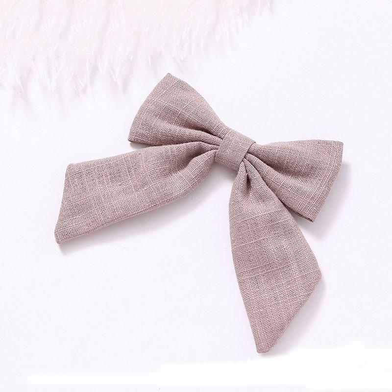 Women Solid Color Cotton Linen Long Tail Bow Hair Clip Alligator Clip Barrettes