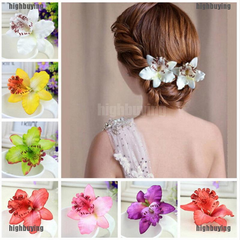 girl woman flower hair cloth bridal pin clip broche pony tail holder band red