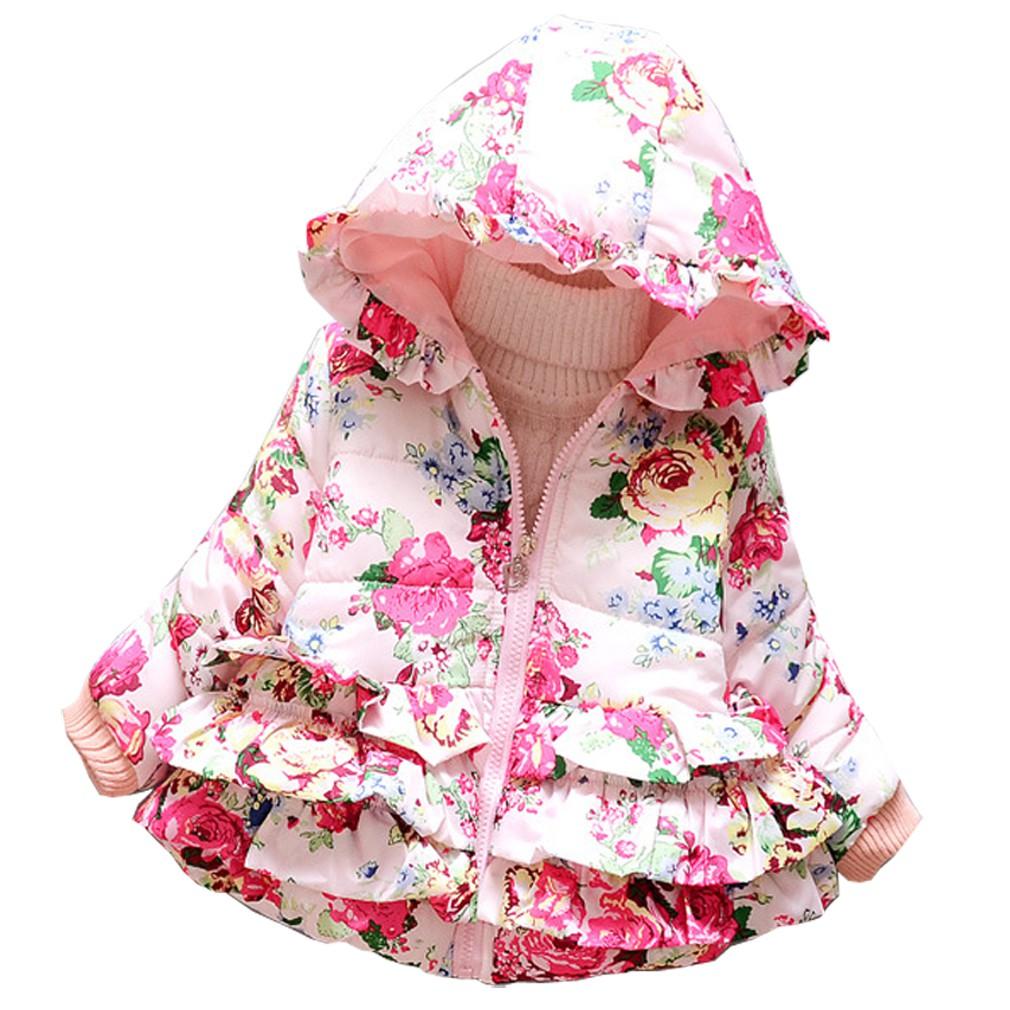 4da53f7fe baby girls warm flower coat children jacket pink blue