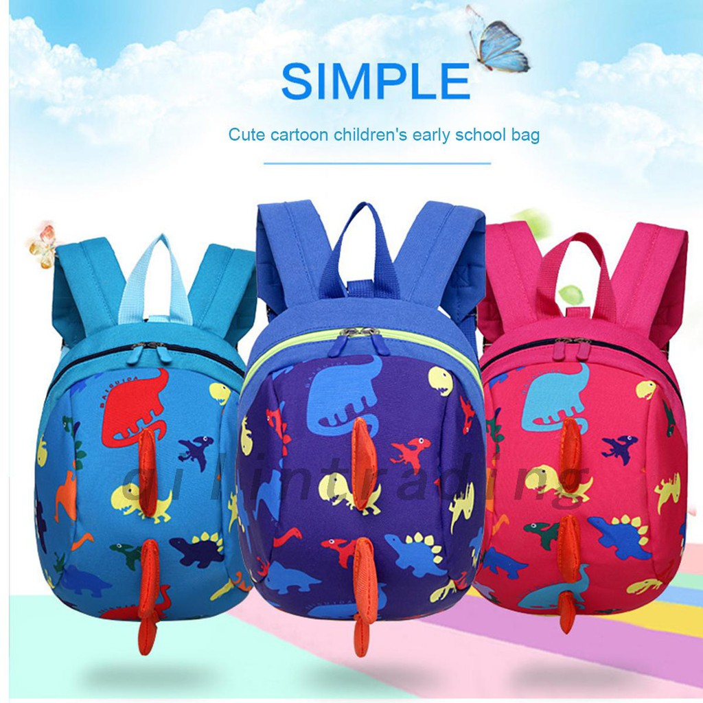 089321ec923f Cartoon Dinosaur Baby Safety Harness Backpack Anti-lost Bag