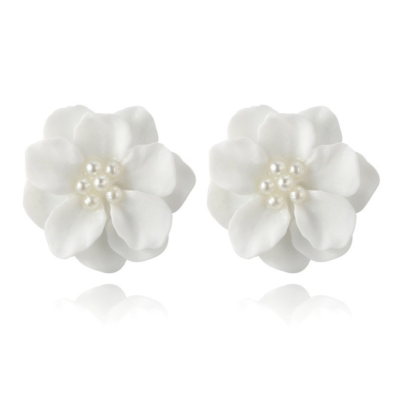 Women Girls Stud Earrings Temperament Fresh Camellia Earrings Lovely White Flower Pearl Pendant Circle Stud Earrings Fashion Design Jewelry Accessories Gifts