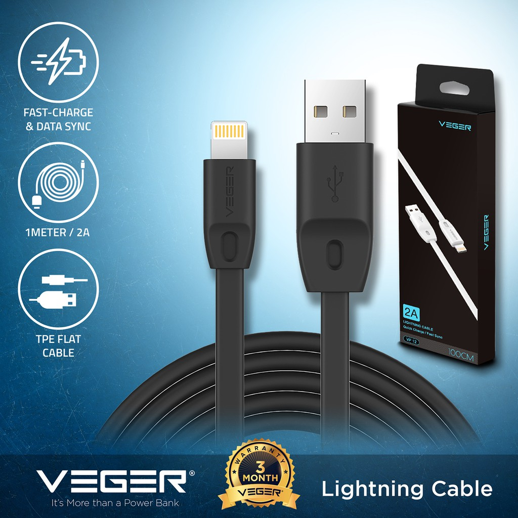 VEGER Lightning Cable 2 0A Fast Charge Cable For iPhone VP12