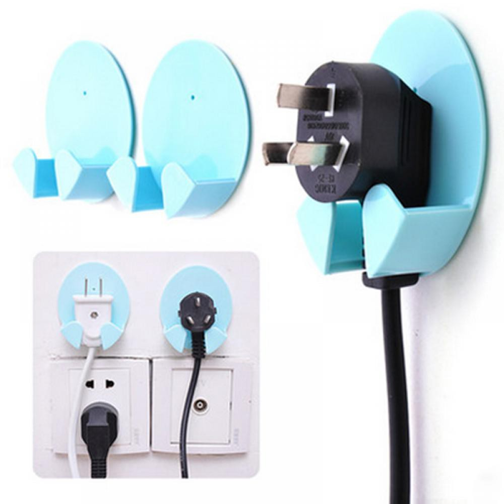 Home Improvement Home Office Wall Adhesive Plastic Power Plug Socket Holder Hanger Hook Rack Kithcen Washroom Bathroom Hooks Wire Plug Hook Tools