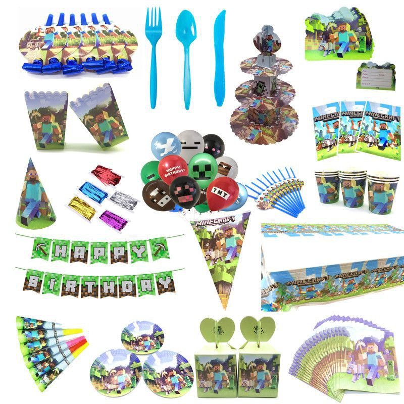 Game Party Accessories Set 50pcs Game Theme Party Supplies Party Decorations Supplies Sets for Birthday Party Decorations Creeper Disposable Tableware Kit