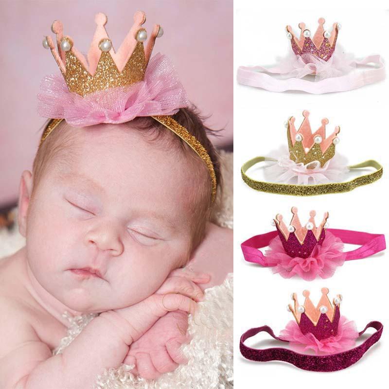 Kids Girl Baby Toddler Shiny Crown Headband Princess Hair Clip Lace Hair BandTB