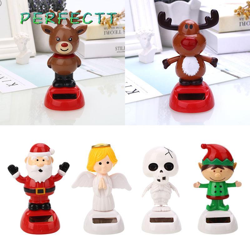 Solar Powered Dancing Christmas Themed Bobble Head Toy Gifts Santas Elk Snowman