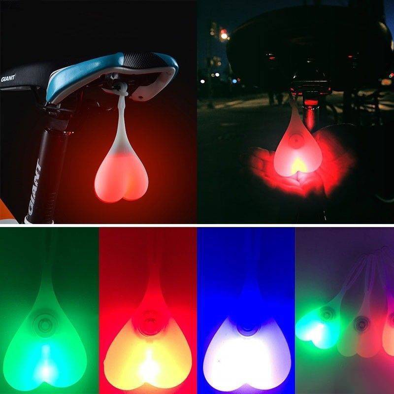 BIKE BALL LIGHTS Bicycle LED Back Rear Tail Lights Heart Ball Egg Lamp Chic